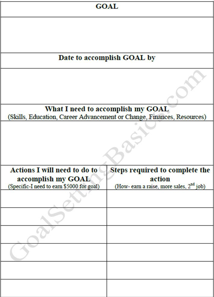 Goal Setting Template PDF