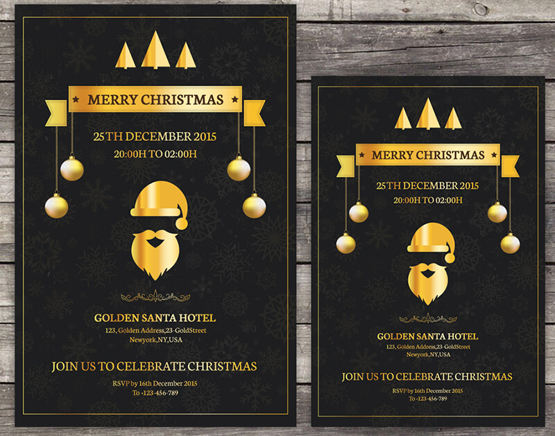 Golden Christmas Invitation Flyer