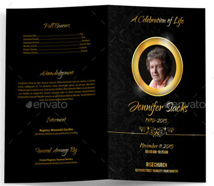 Golden Funeral Program Brochure