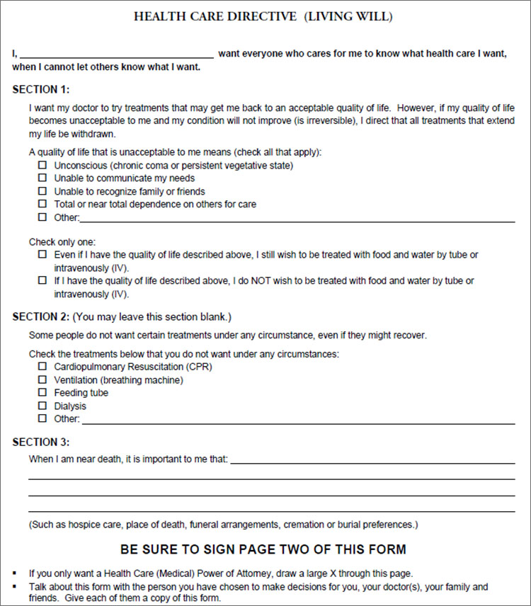Health Care Directive Form