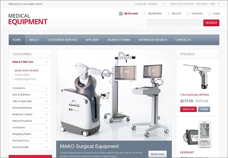 High-Tech Medical Equipment Magento Theme