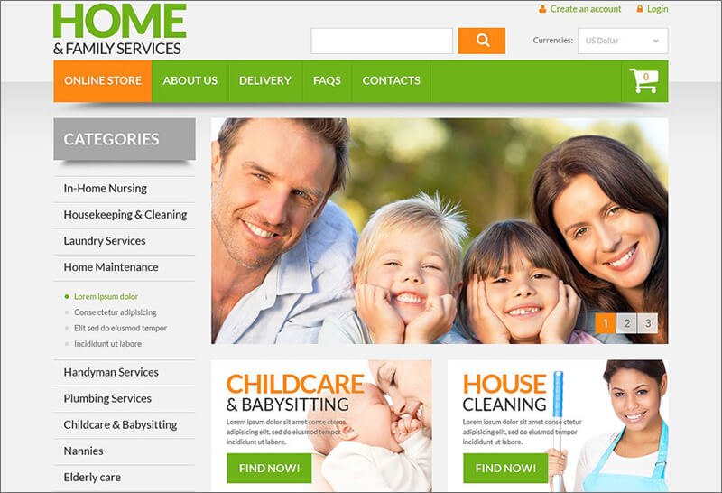 Home Family Services VirtueMart Template