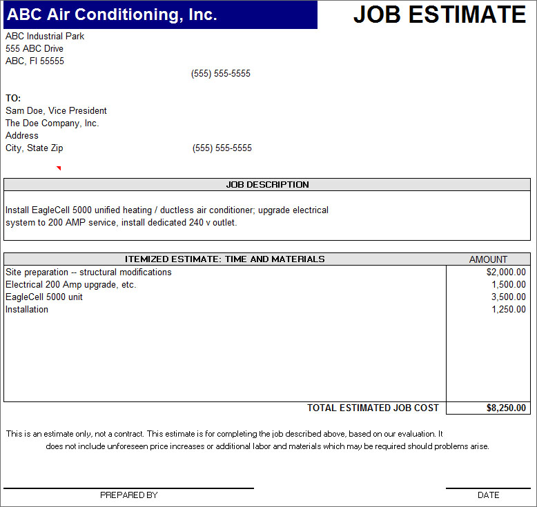 Job Estimate Template ...  Business Estimate Template