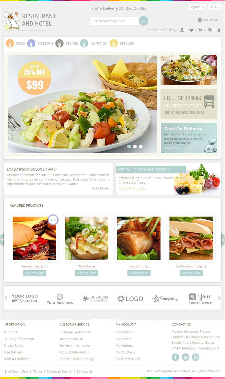 Magento Responsive Restaurant Theme