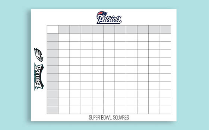 Numbered Football Square Template
