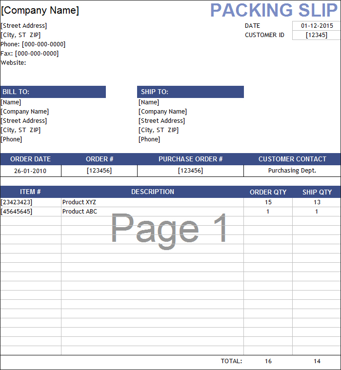 packing slip excel template