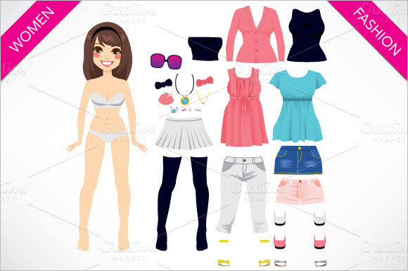 15 paper doll templates free psd creativetemplate creative paper doll women fashion pronofoot35fo Gallery