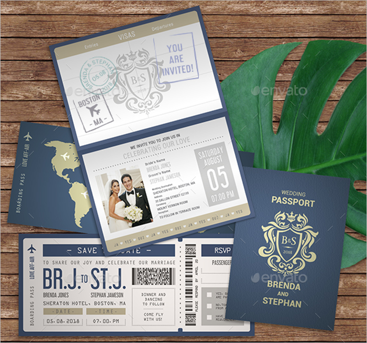 Passport Style Wedding Invitation Template