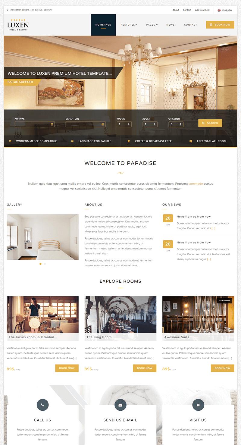Premium Hotel PHP Template