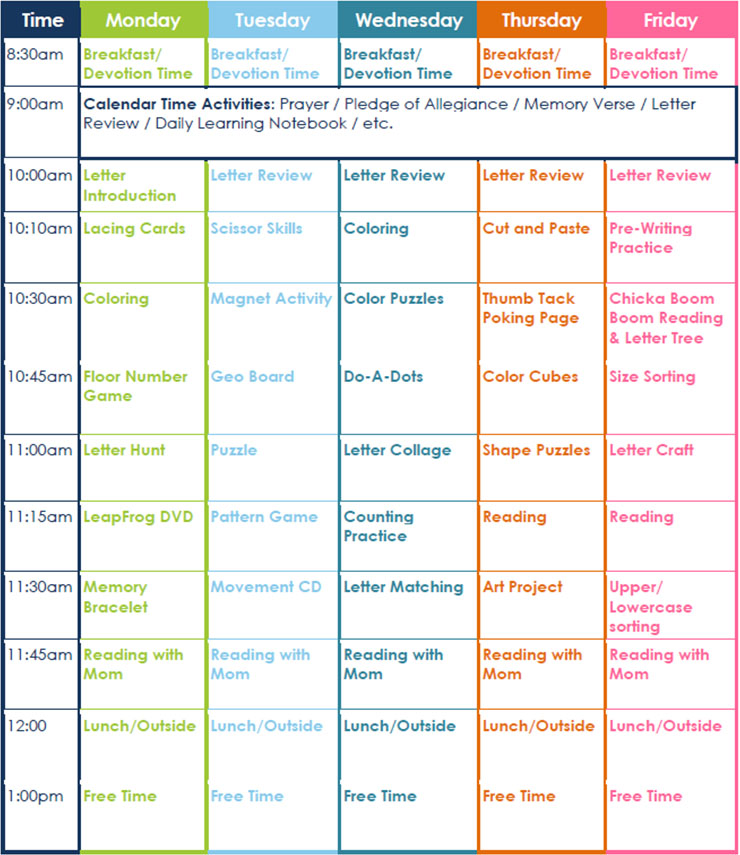Preschool Lesson Plan Daily Schedule