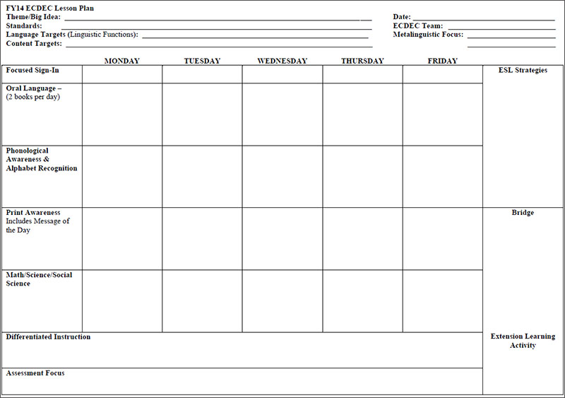 Preschool Lesson Plan Template ...