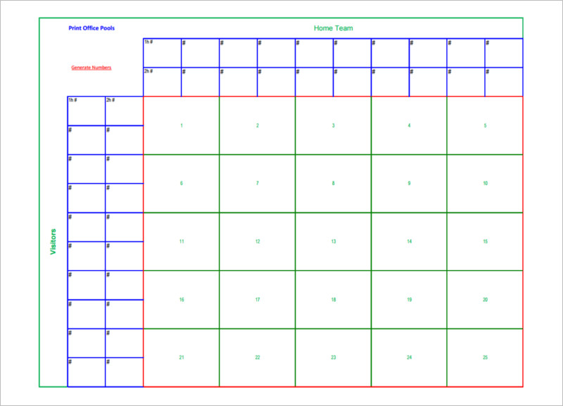 Printable Football Square Templates Pdf | Creative Template