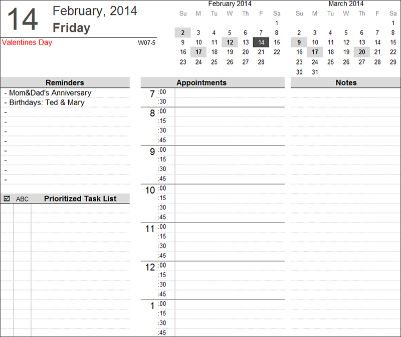 Printable Daily Planner Template ...  Downloadable Daily Planner