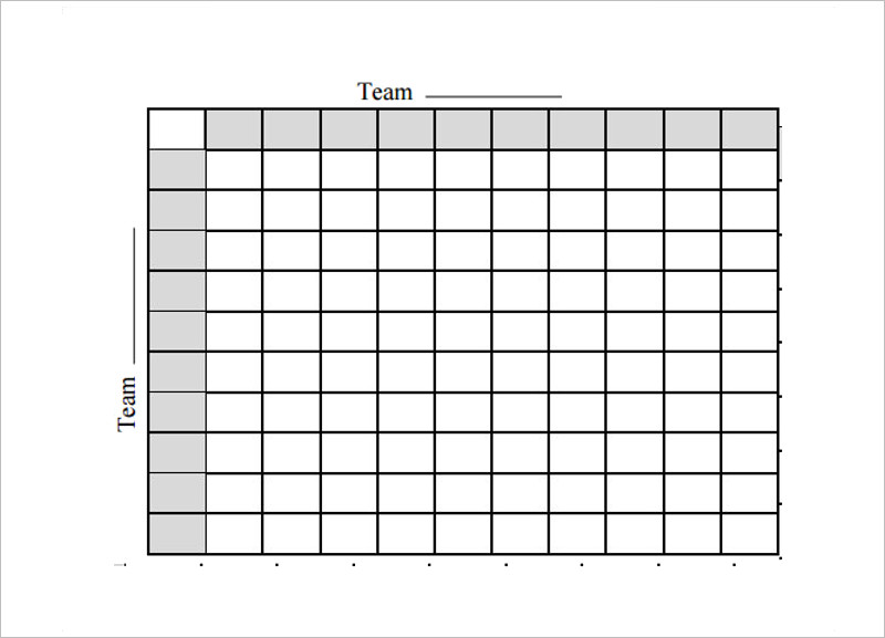 Printable Football Square Template Free in PDF Format