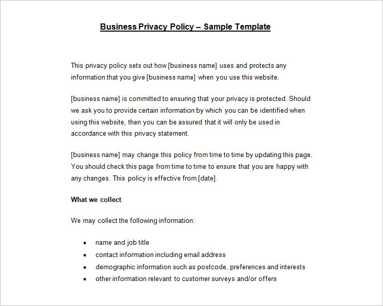 Privacy Policy Template For Small Business