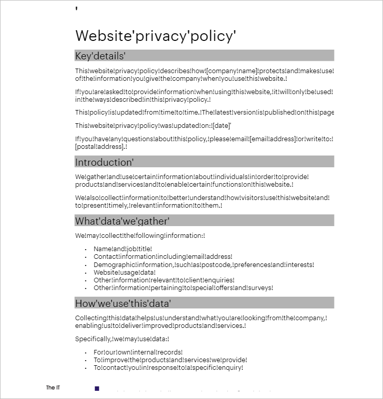 Privacy Policy Template For Website