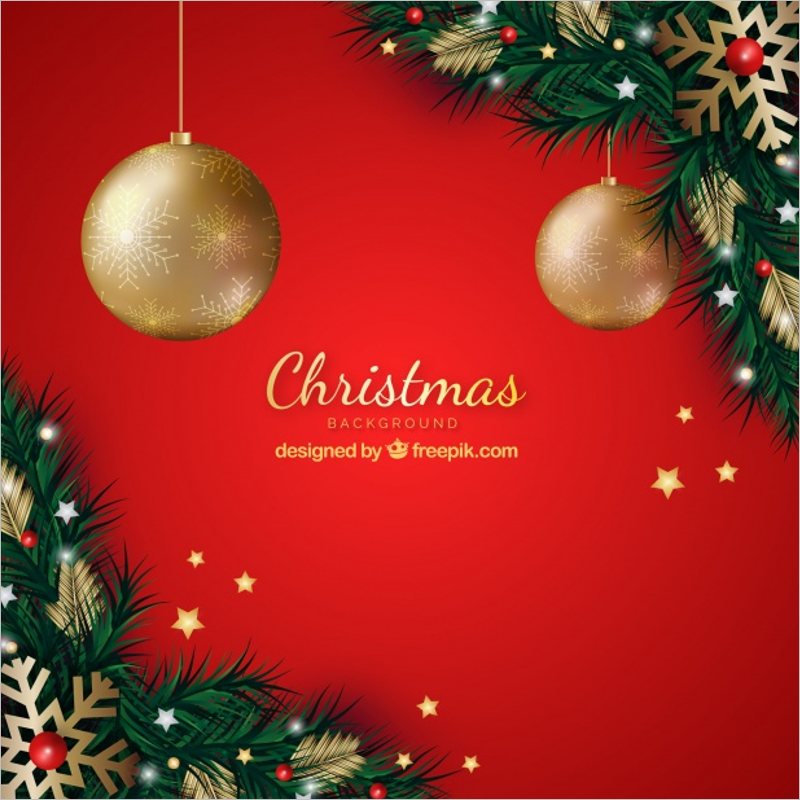 Red Background Christmas Decoration Idea