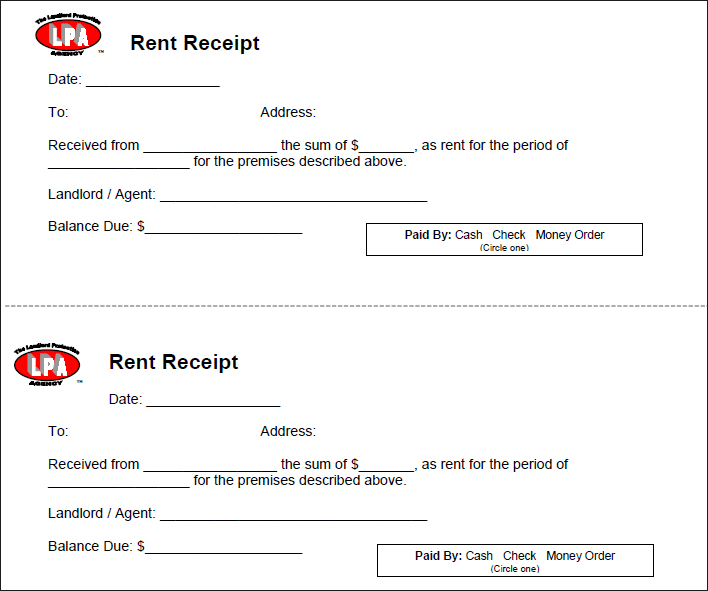 Rent Receipt Template Sample