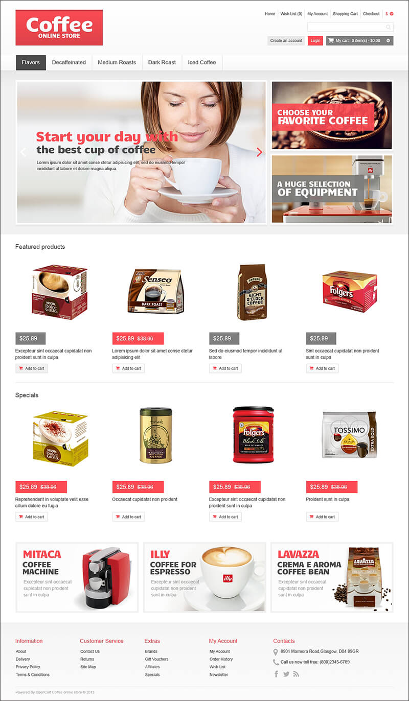 Responsive Coffee Store OpenCart Template