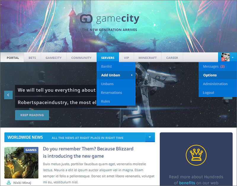 Responsive Gaming HTML & CSS Template
