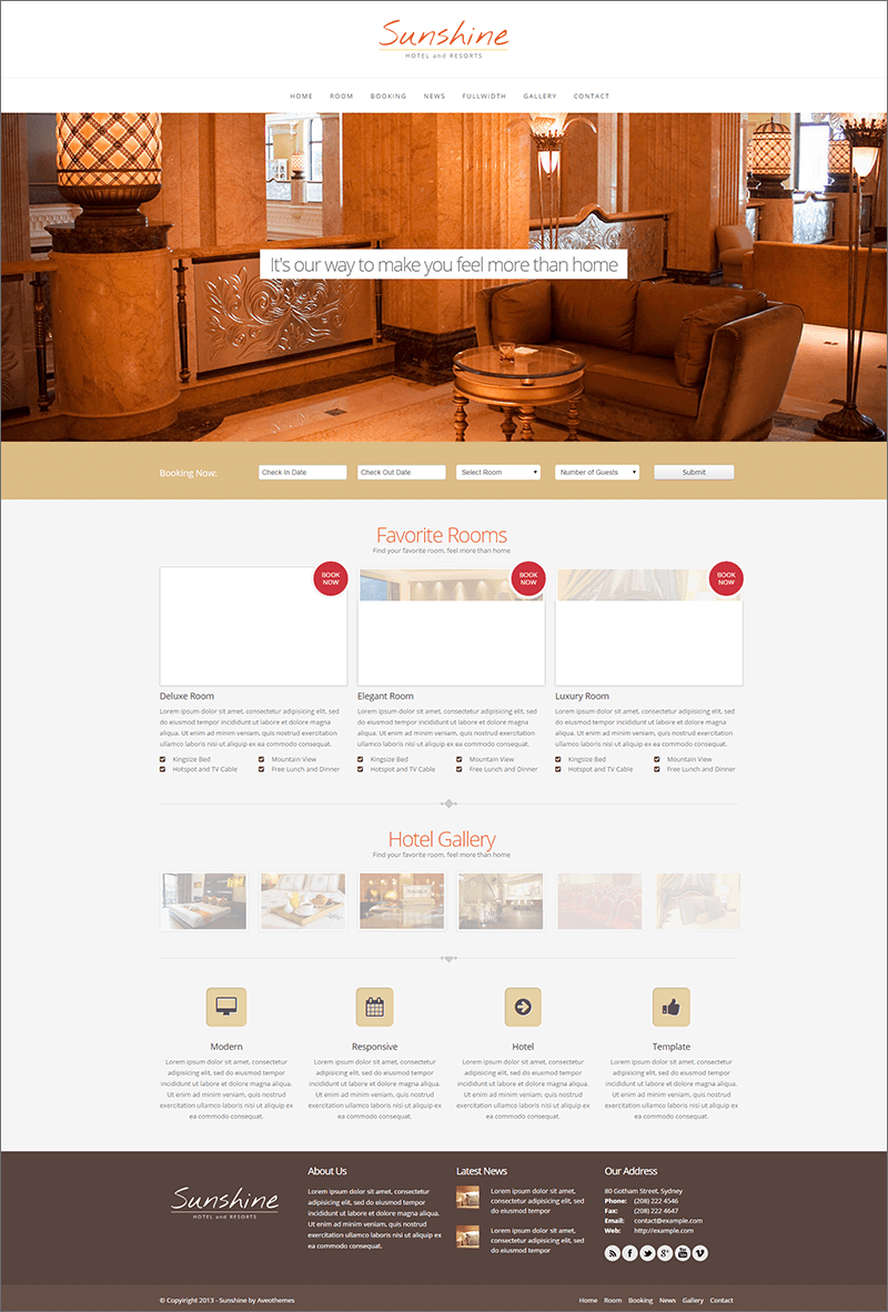 Responsive Hotel PHP Template