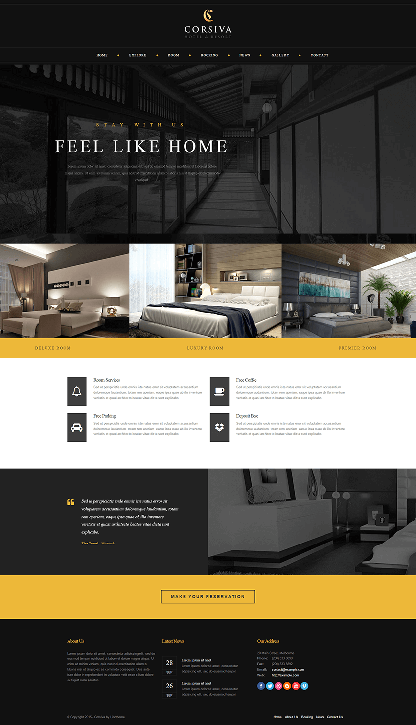 Responsive Hotel Website PHP Template