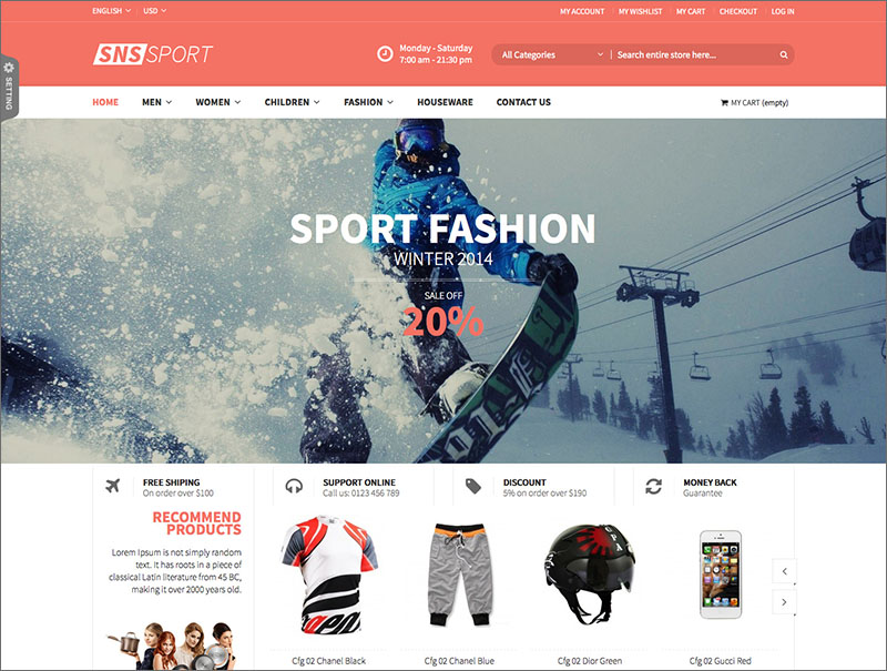 Responsive Magento Sports template