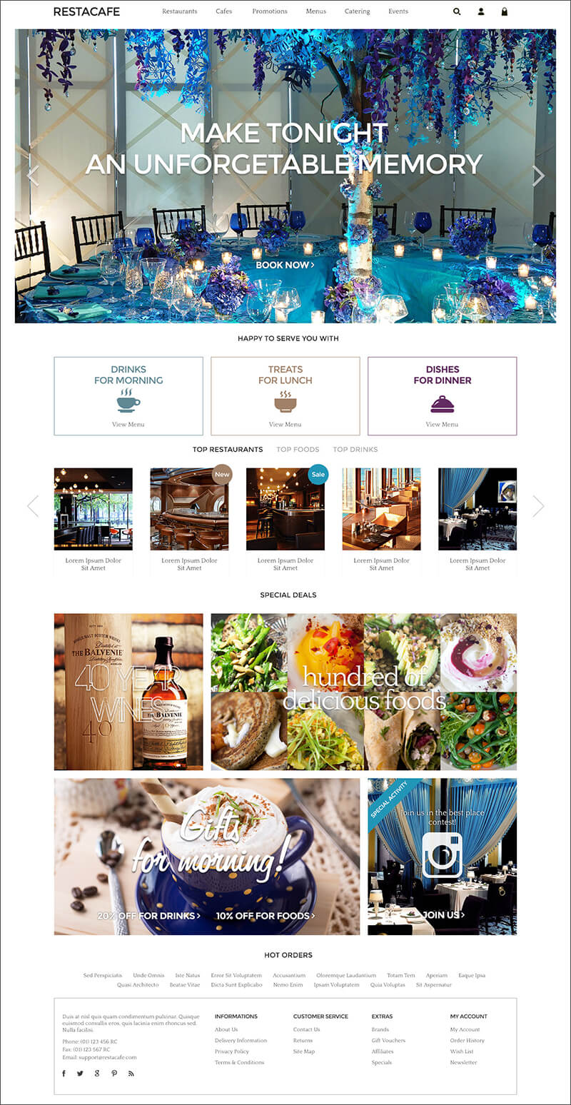 Responsive Restaurant OpenCart Theme