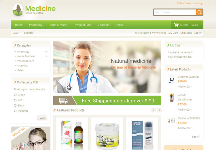 SEO Optimized Medical Magento Theme