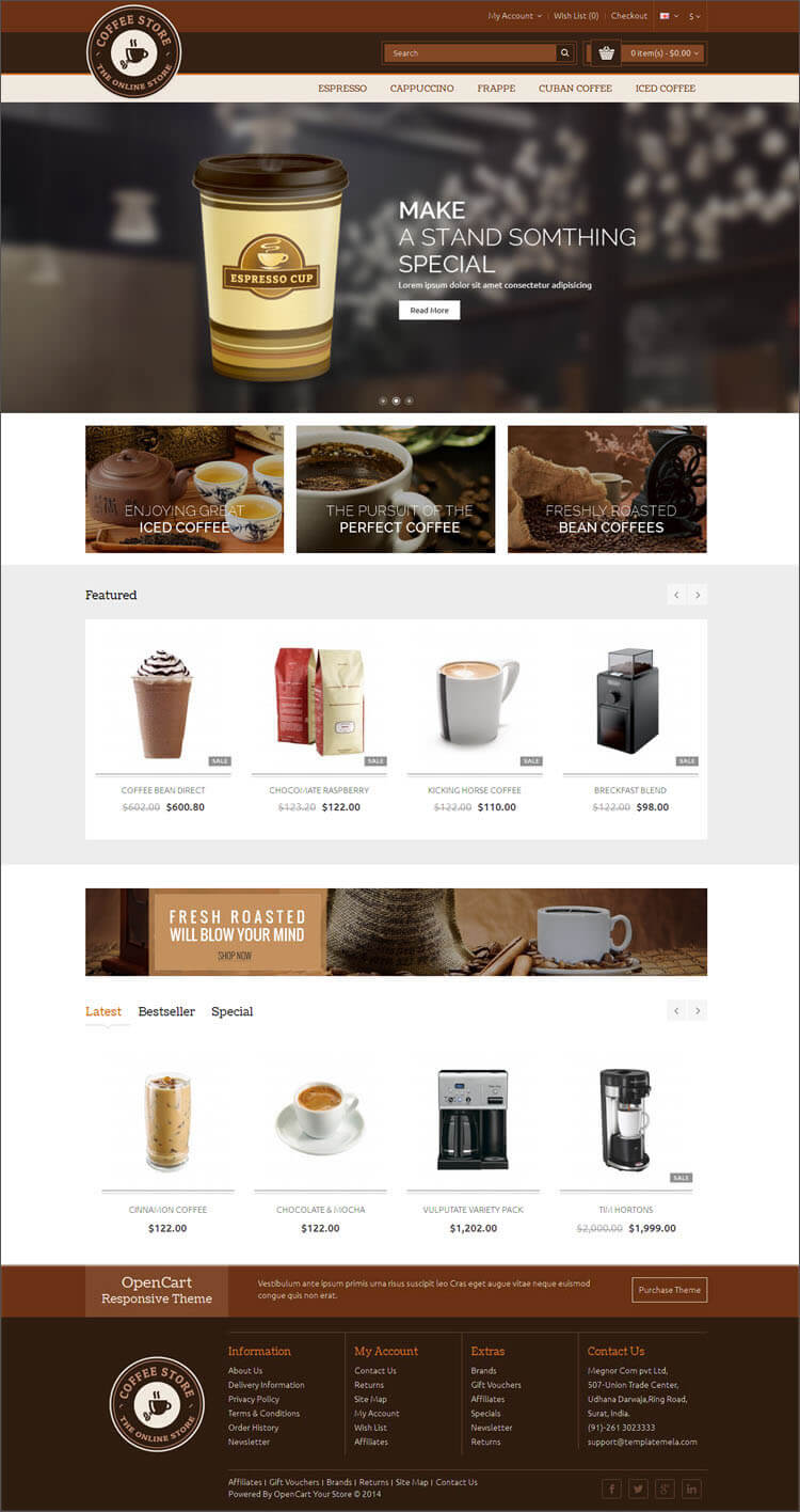 SEO Optimized Restaurant Opencart Theme