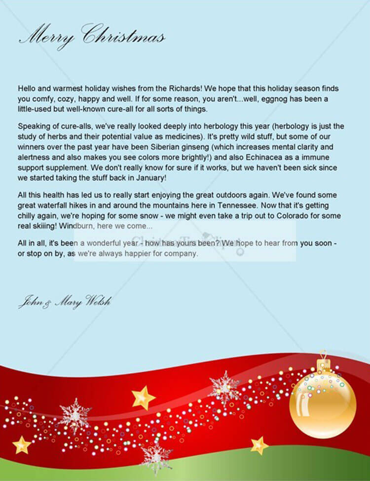 Sample Christmas Letter Template ...  Christmas Letter Templates