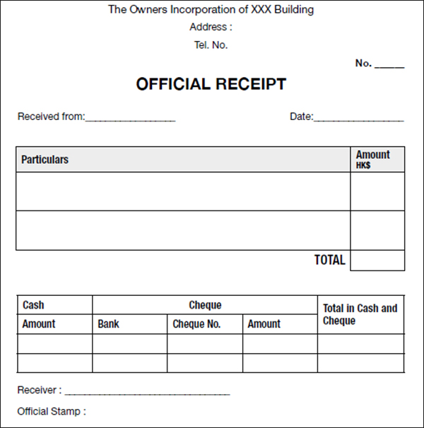 Sample Official Receipt Template