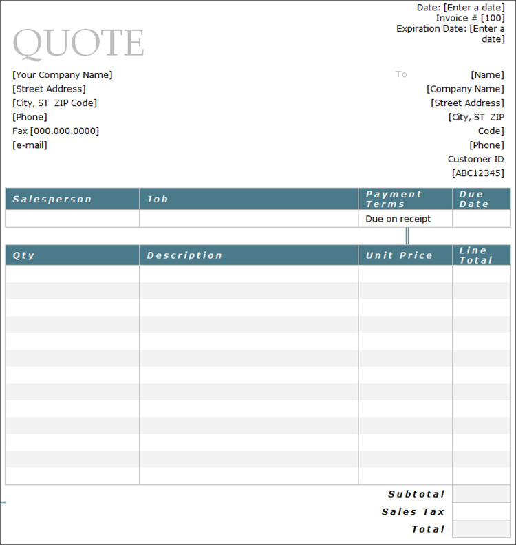 Price Quote Template  SkiroPkIProTk