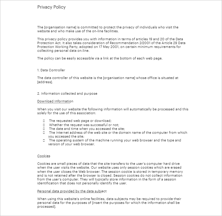 standard privacy policy template