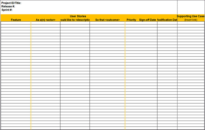 User Story Template Excel