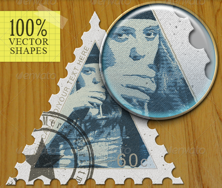 Vector Postage & Rubber Stamps PSD Templates
