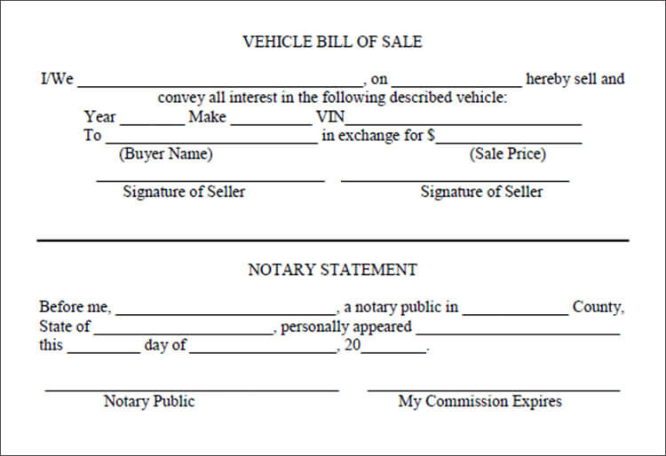 Vehicle Bill Of Sale Templates | Creative Designs
