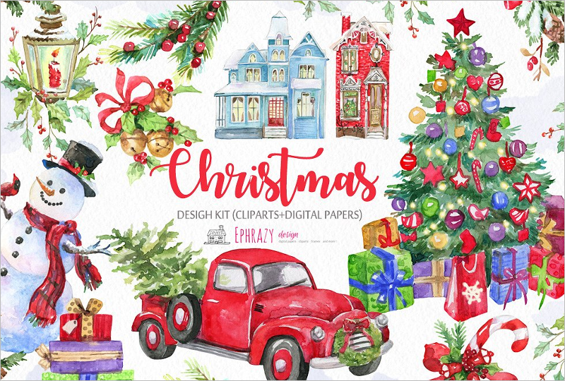 Watercolor Christmas Background Design