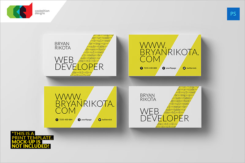 Developer Business Card Templates PSD Templates