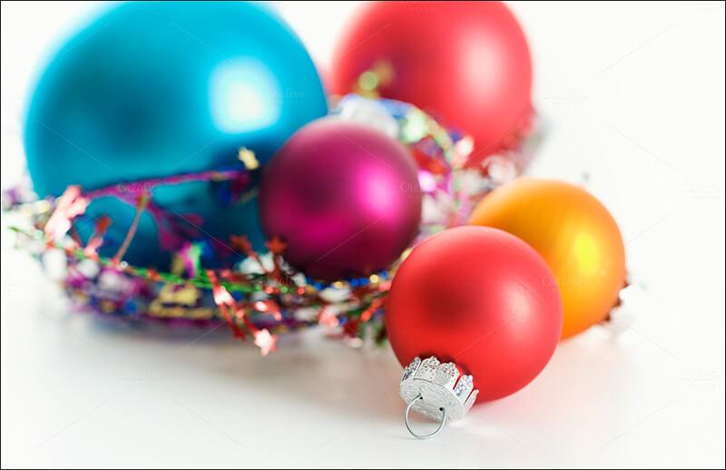 Xmas Ornaments On White