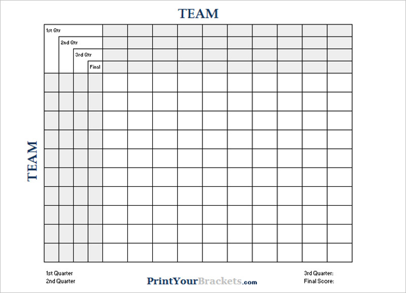 Printable Football Square Templates Free Excel Word Formats