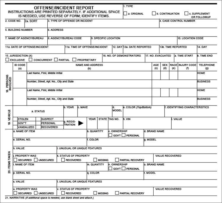 Blank Police Report Template