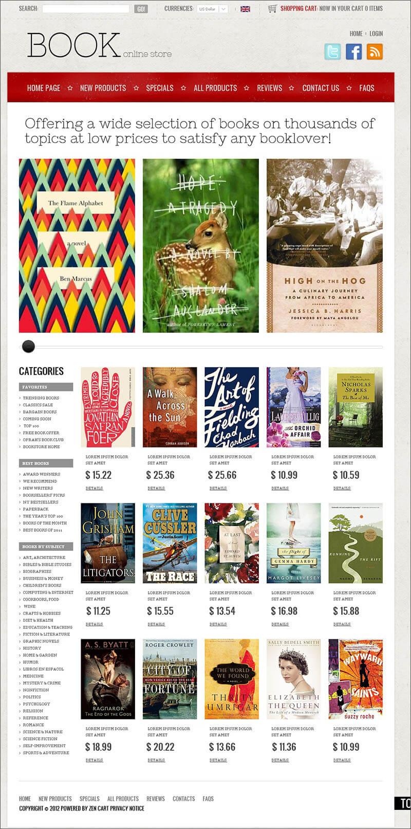 Books Online ZenCart Template