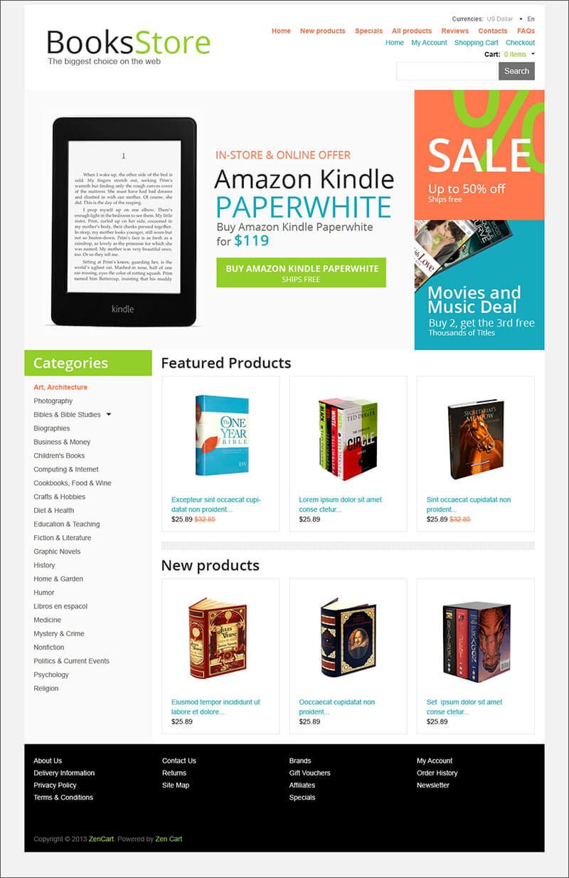 Books Store ZenCart Template