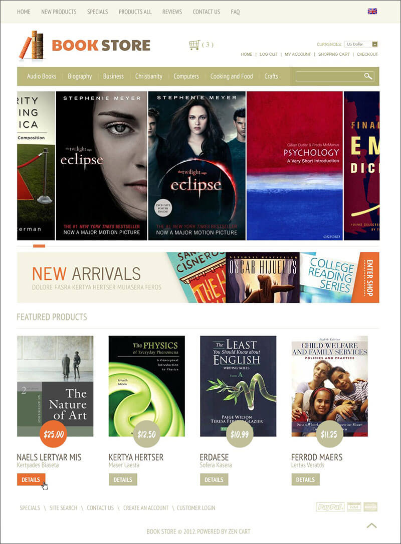 Books ZenCart Template