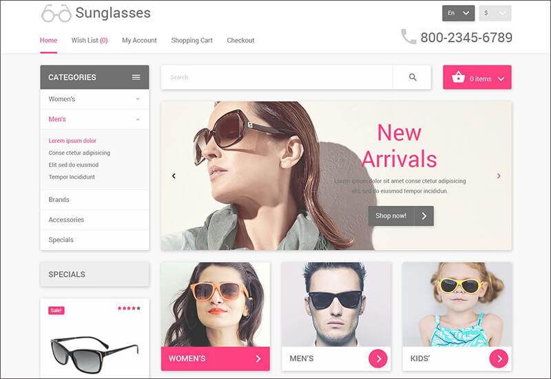 Bootstrap Eyewear OpenCart Template