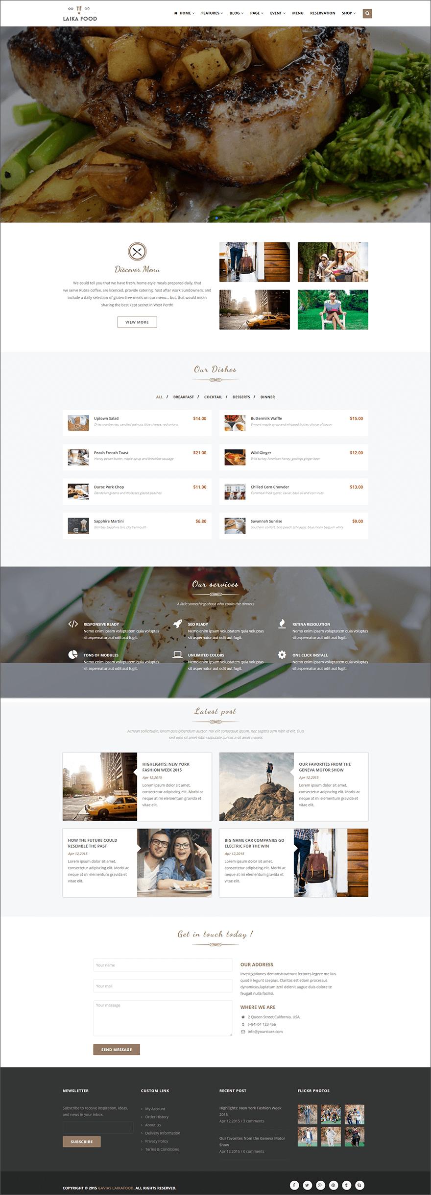 Cafe & Food Drupal Theme