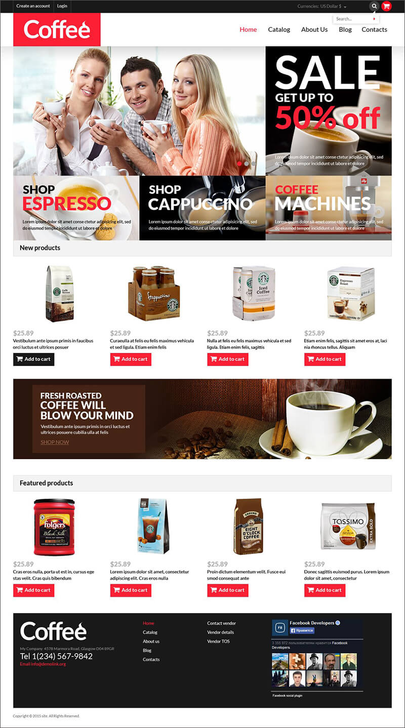 Coffee Shop Responsive Virtue Mart Template