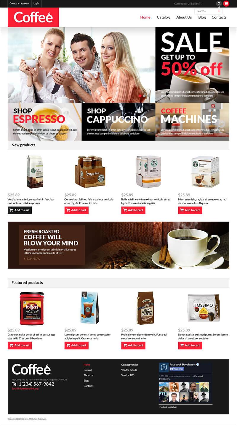 Coffee Shop Responsive Virtue Mart Template