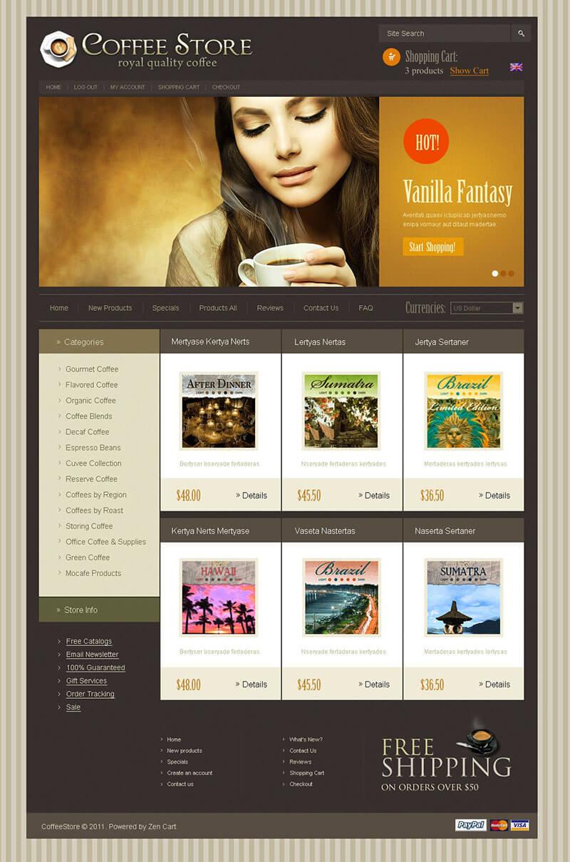 Coffee Shop ZenCart Template